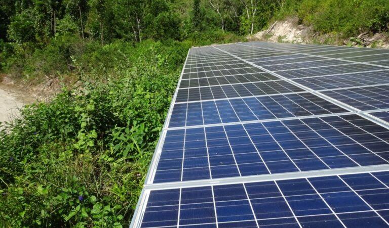 Solar panels at the Qaravi site on Naitauba Island.