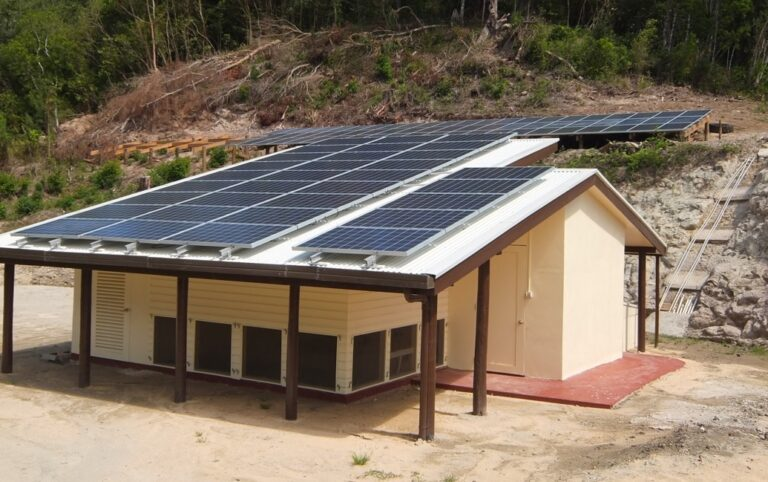 The solar power site at Qaravi on Naitauba Island.