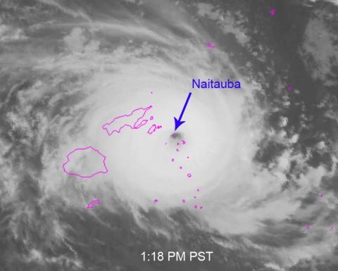 Satellite image of Cyclone Winston directly over the island of Naitauba.
