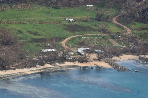 Aerial photograph of the island boat on its side. The photo was published by the Fijian government February 24th, 2016.