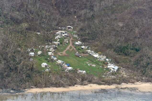 Damage from Cyclone Winston at Ciqomi on Naitauba Island in 2016.