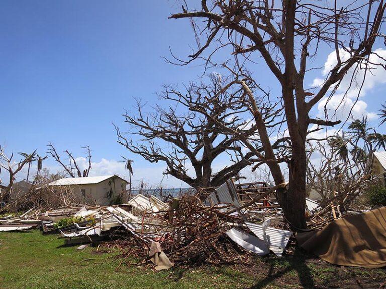 Damage at Qaravi village on Naitauba.