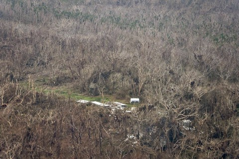 Aerial photograph of the Naitauba farm buildings and surrounding trees stripped of leaves. The photo was taken by the NZ Defense Forces and published by the Fijian government February 24th, 2016.