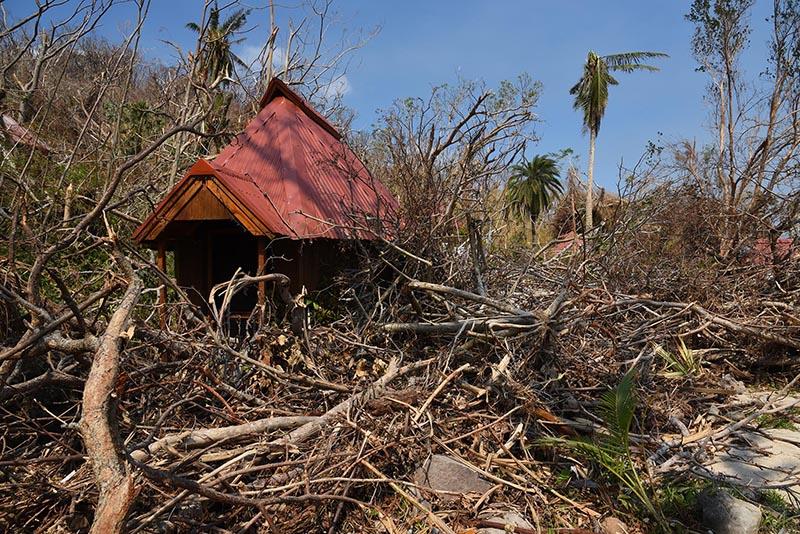 Damage on Naitauba Island due to Cyclone Winston.