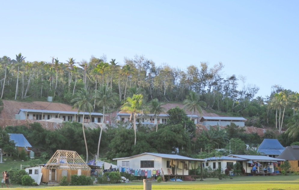 New school / cyclone-refuge under construction at higher elevation at Ciqomi on Naitauba Island.