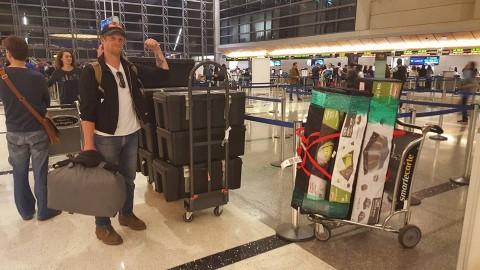 Volunteers at LAX in Los Angeles departing for Fiji.